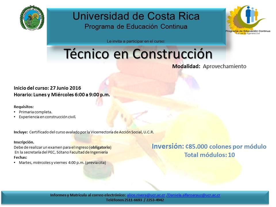 Calendario de actividades ucr t cnico en construcci n - Tecnico en construccion ...