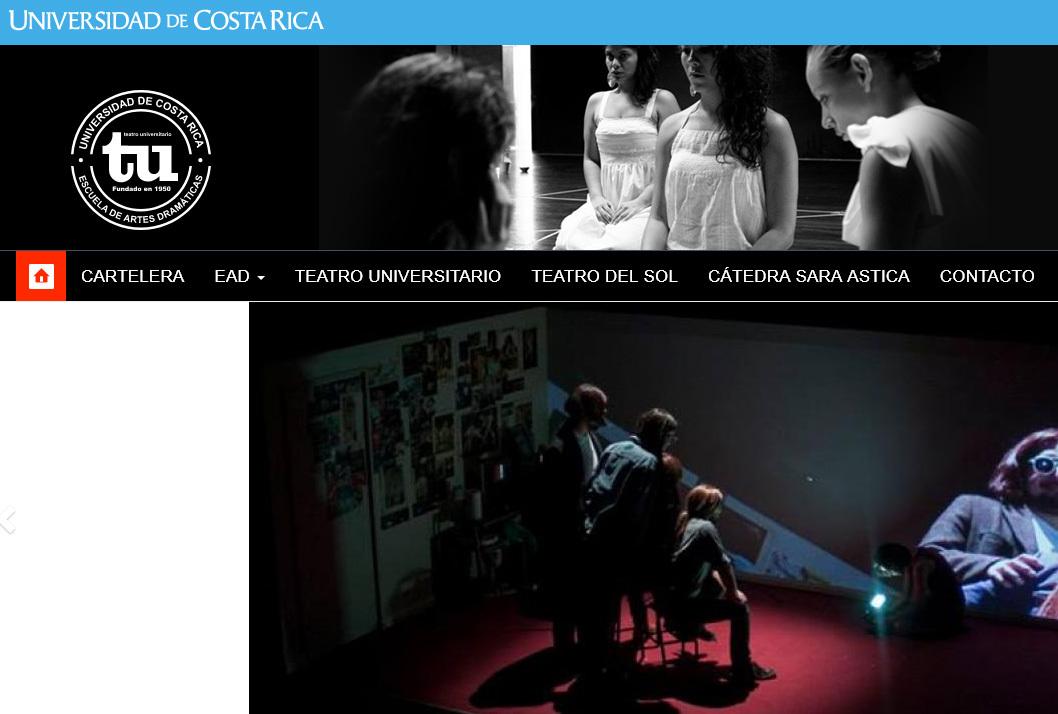 La Escuela de Artes Dramáticas y el Teatro Universitario están ubicados en San Pedro de Montes de Oca, 100 metros al este de la librería universitaria sobre la Avenida de la Cultura.